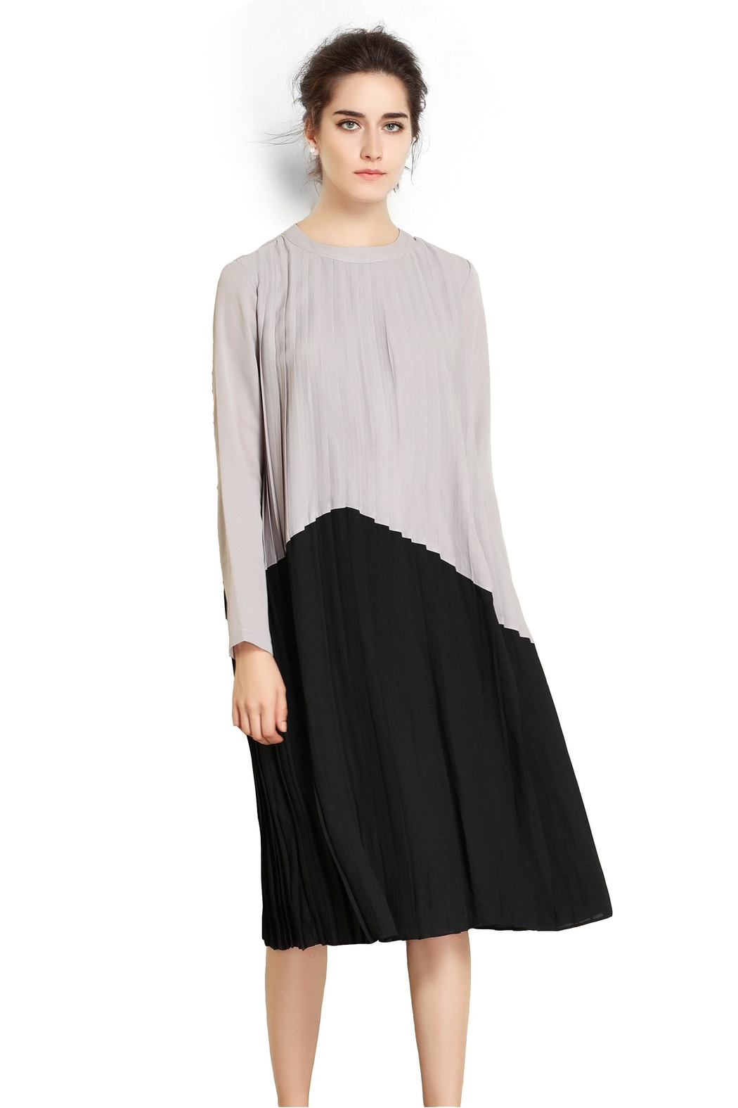 Miss Finch Modest Pleated Dress - Side Cropped Image