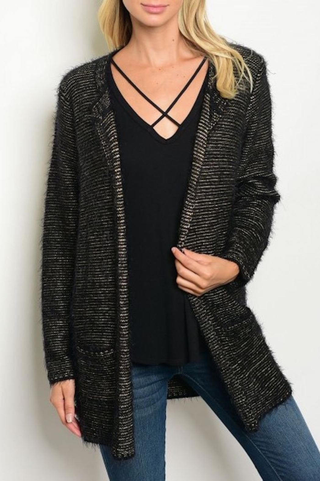 Miss Kelly Metallic Gold Cardigan from Michigan by HUMANITY ...
