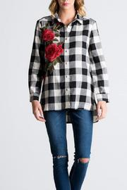 Miss Love Black Floral Plaid Top - Product Mini Image