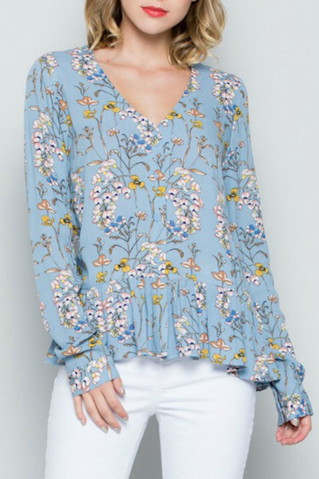 Miss Love Blue Floral Top - Front Cropped Image