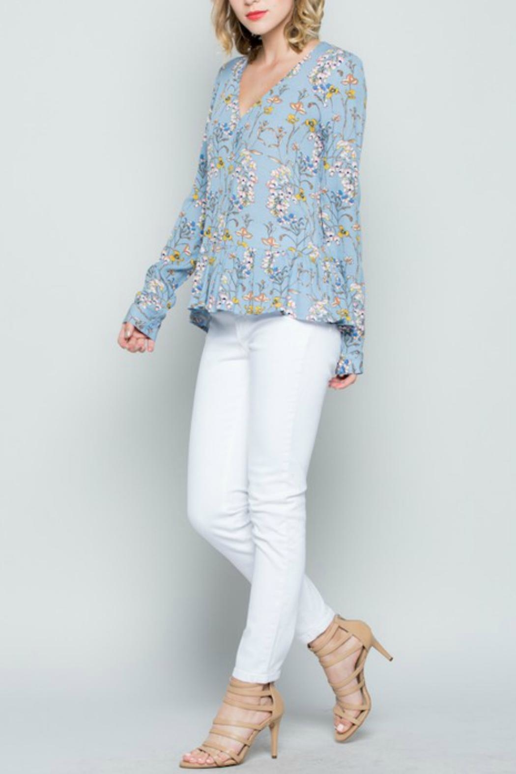 Miss Love Blue Floral Top - Side Cropped Image