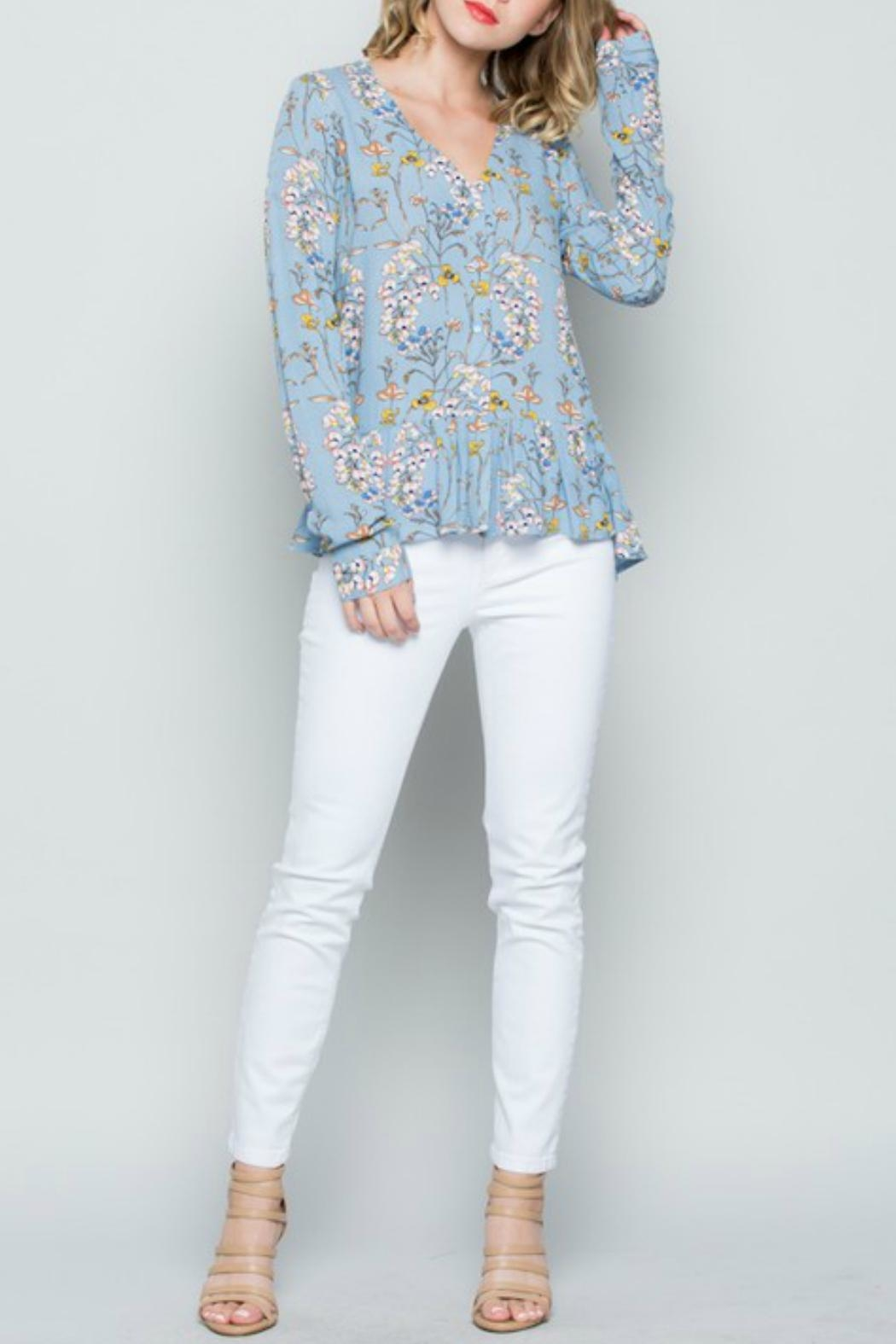 Miss Love Blue Floral Top - Front Full Image