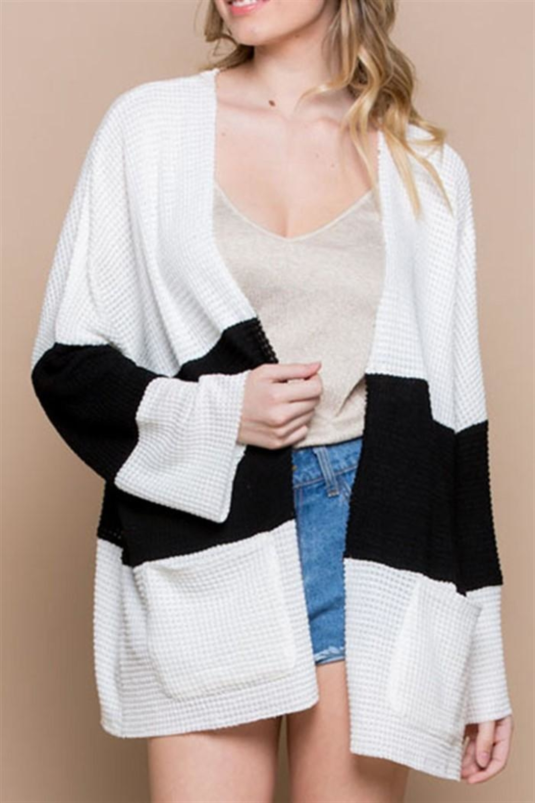 Miss Love Color Block Cardigan - Front Cropped Image