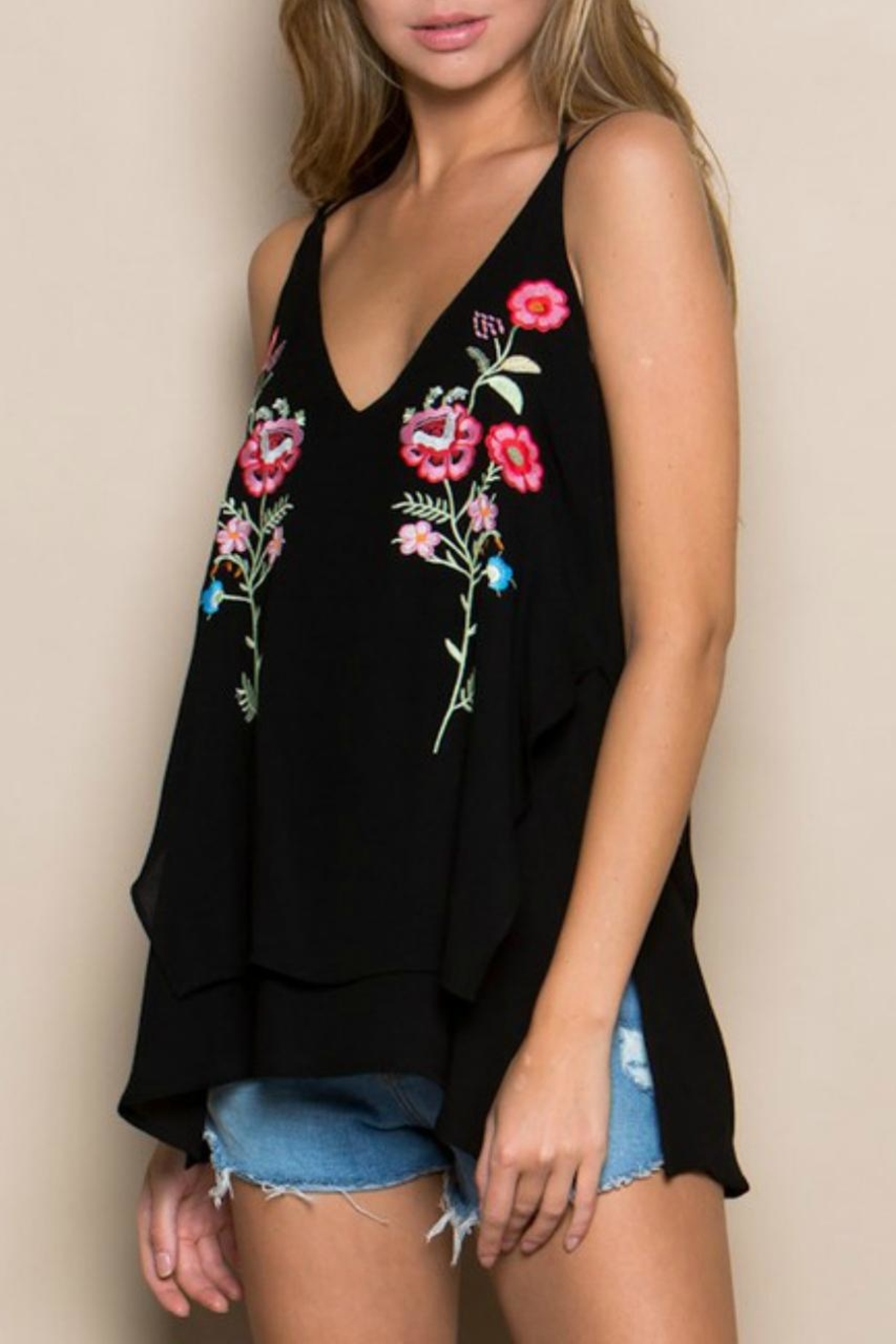 Miss Love Embroidered Double-Layer Tank - Main Image