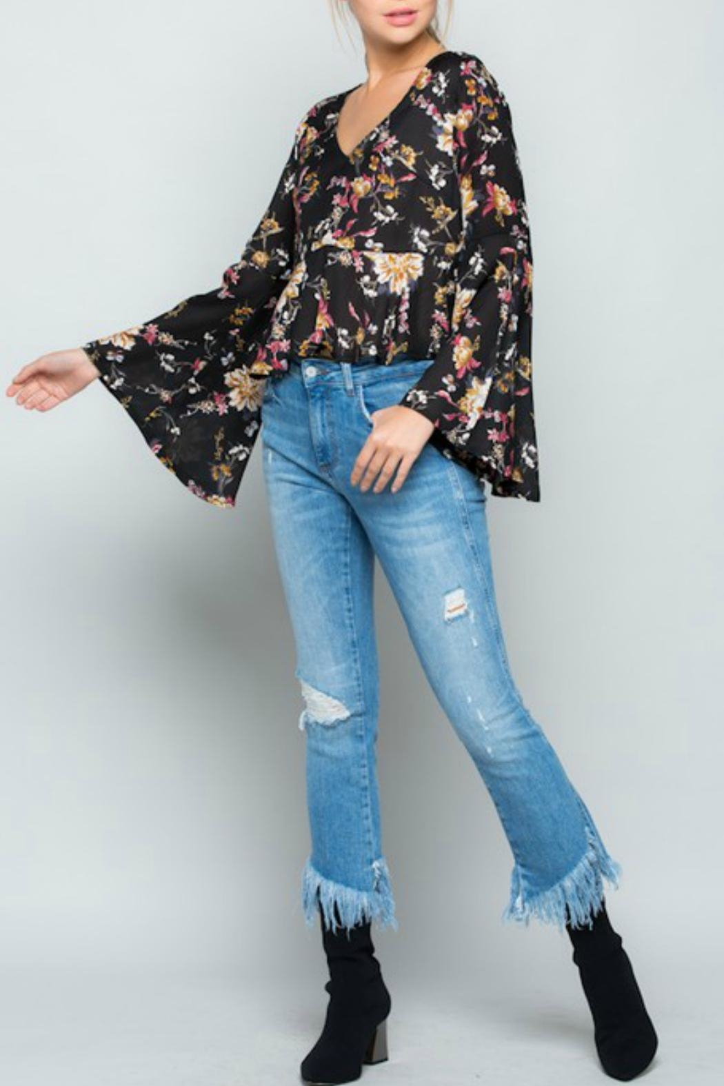 Miss Love Floral Bell-Sleeve Top - Main Image