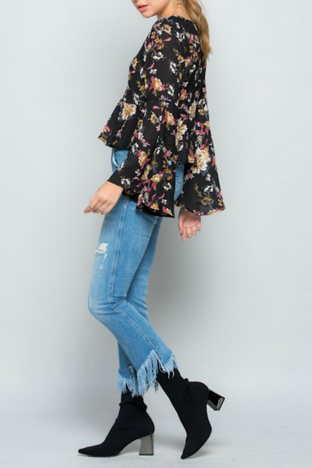 Miss Love Floral Bell-Sleeve Top - Side Cropped Image