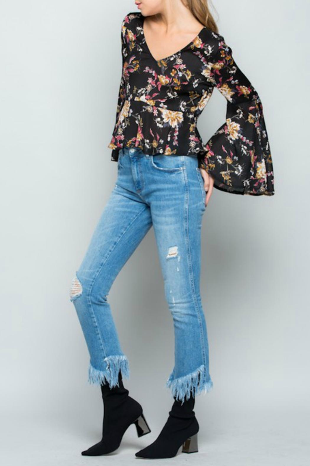 Miss Love Floral Bell-Sleeve Top - Front Full Image