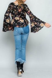 Miss Love Floral Bell-Sleeve Top - Back cropped