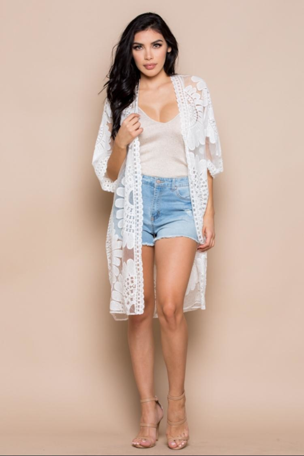 Miss Love Floral Embroidered Kimono - Main Image