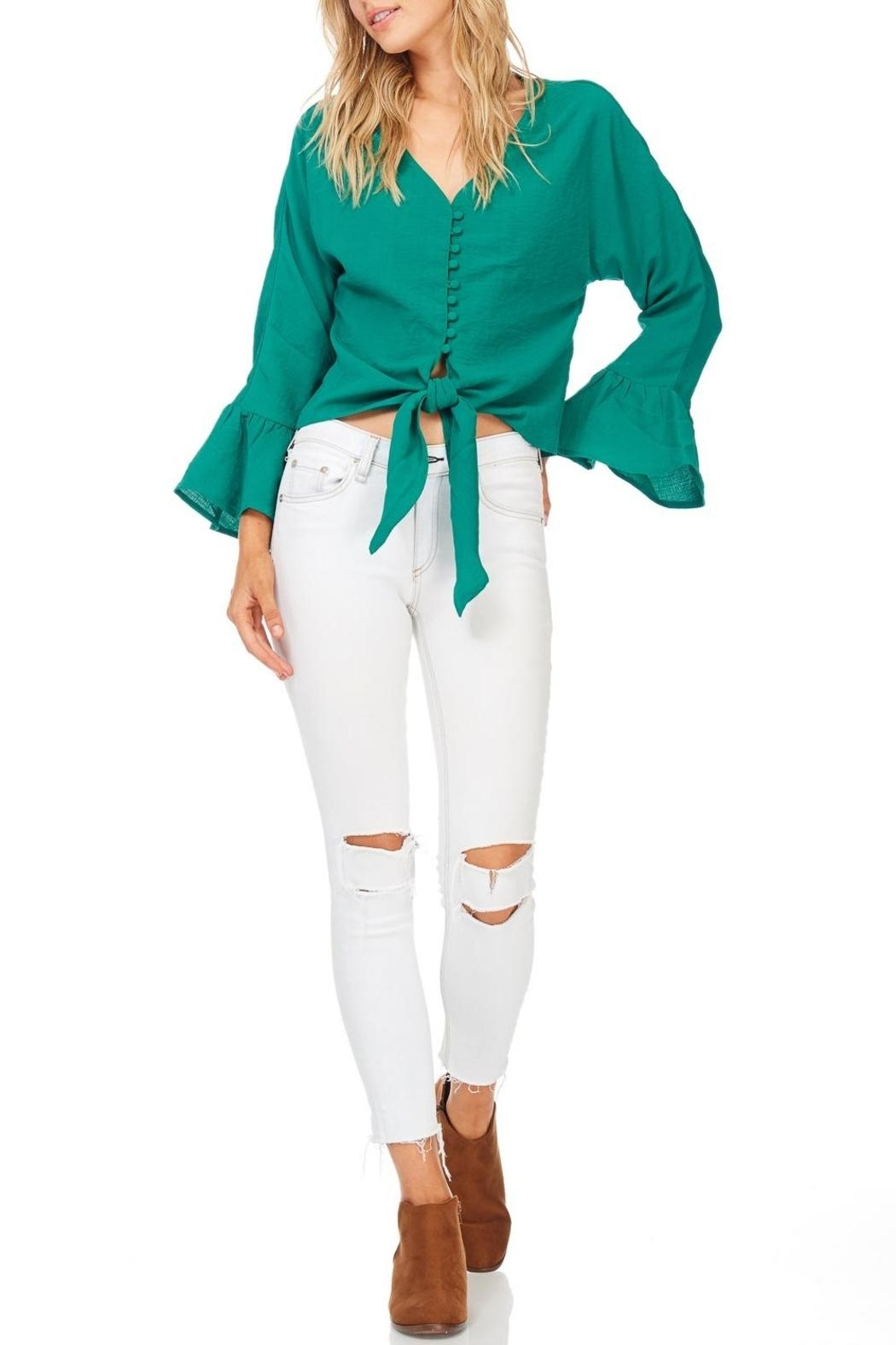 Miss Love Green Front Tie Blouse - Front Cropped Image