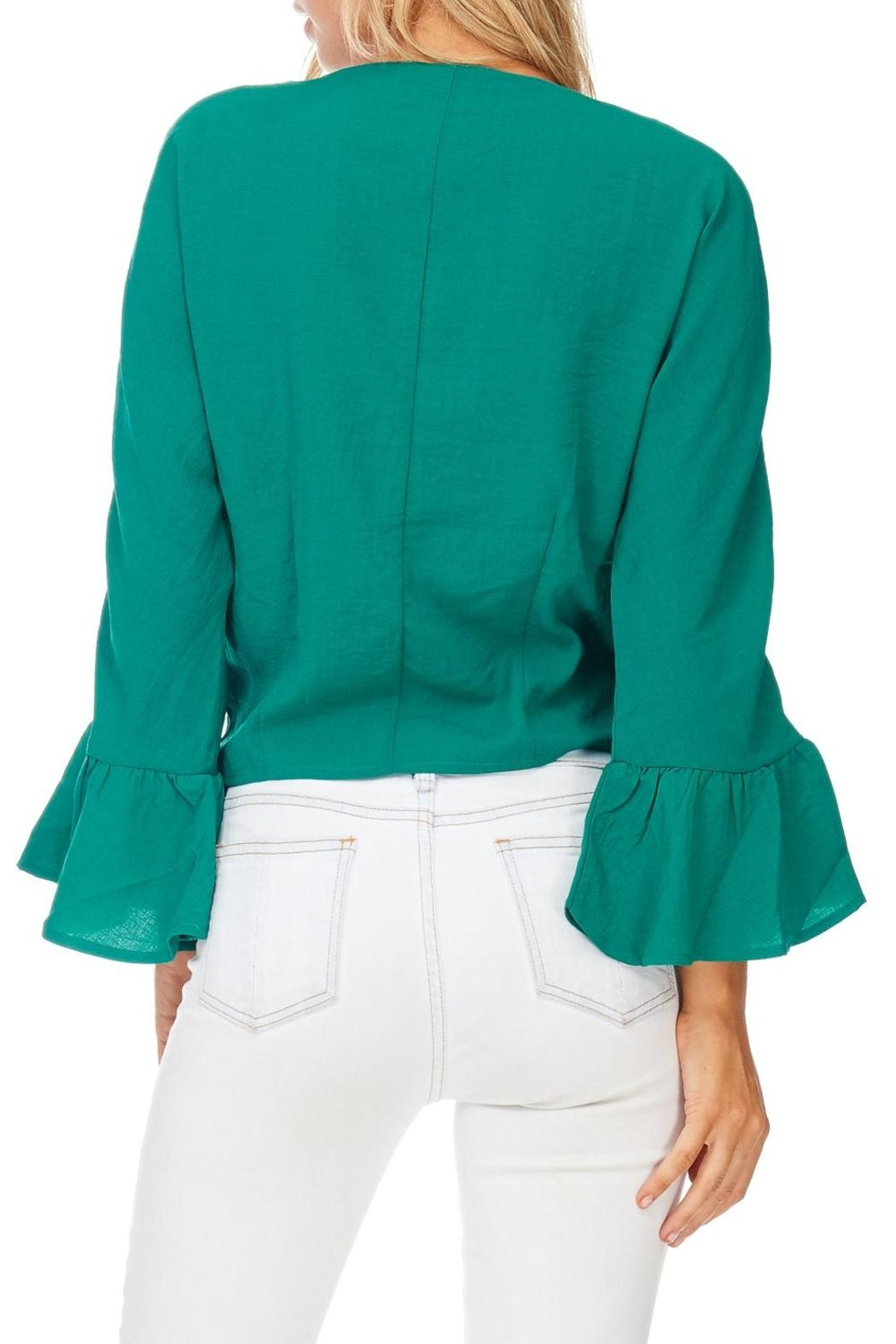 Miss Love Green Front Tie Blouse - Back Cropped Image
