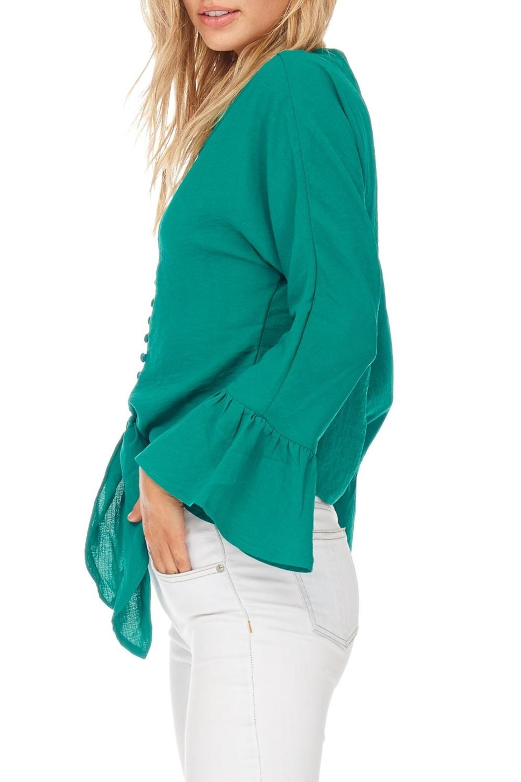 Miss Love Green Front Tie Blouse - Side Cropped Image