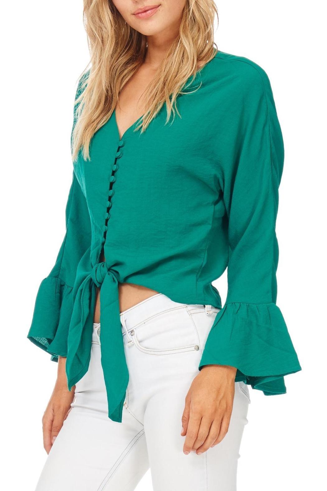 Miss Love Green Front Tie Blouse - Front Full Image