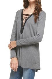 Miss Love Grey Lace Up Tunic - Product Mini Image