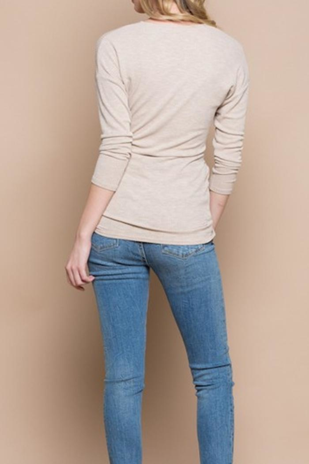 Miss Love Knit Wrap Top - Back Cropped Image