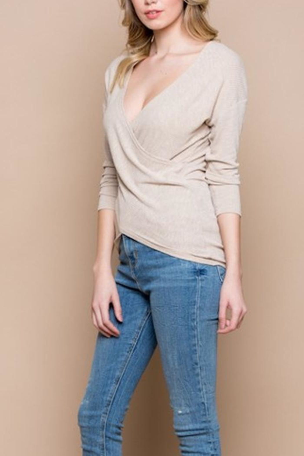 Miss Love Knit Wrap Top - Side Cropped Image