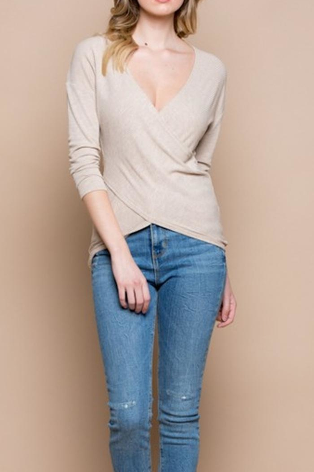 Miss Love Knit Wrap Top - Front Full Image
