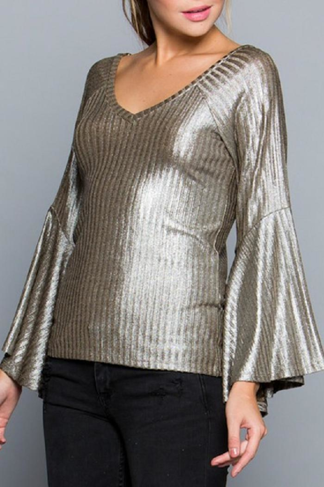 Miss Love Metallic Bell Sleeve - Side Cropped Image