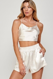 Miss Love Satin Open Back Tie Top - Product Mini Image