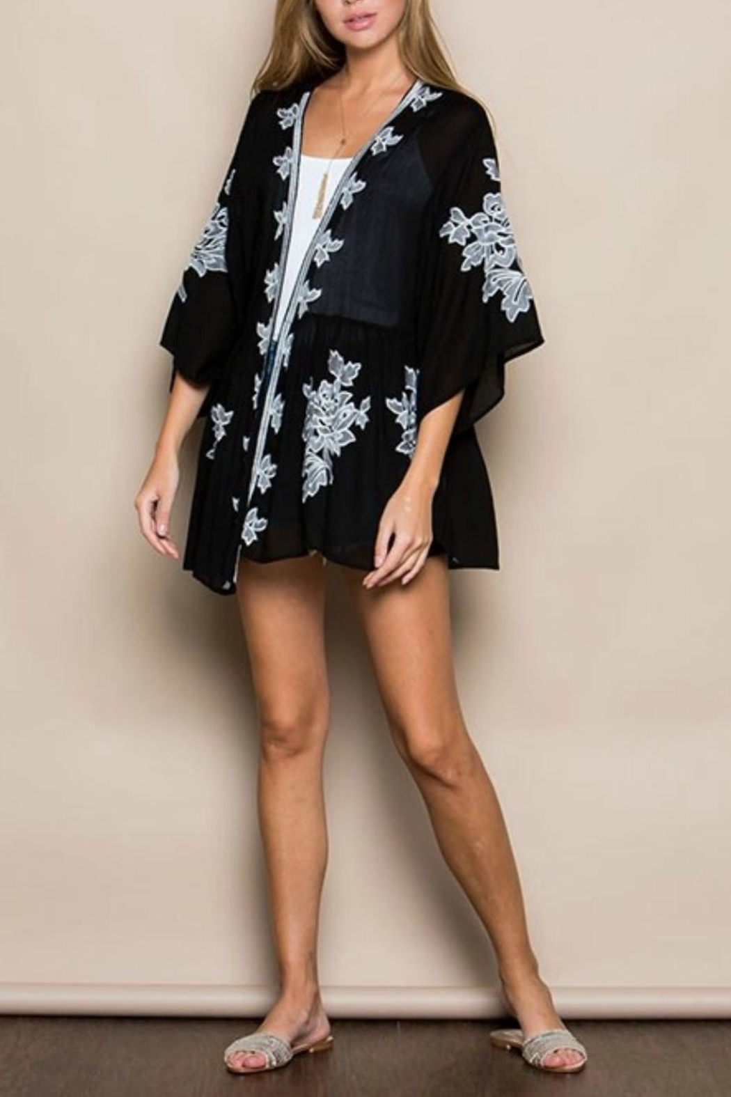 Miss Love Sheer Floral Kimono - Front Cropped Image