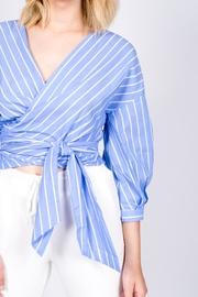 Miss Love Striped Wraparound Top - Side cropped