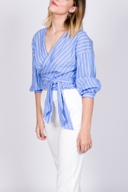 Miss Love Striped Wraparound Top - Front full body