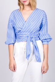 Miss Love Striped Wraparound Top - Front cropped