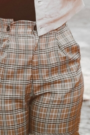 Miss Love Tan Plaid Pant - Front full body
