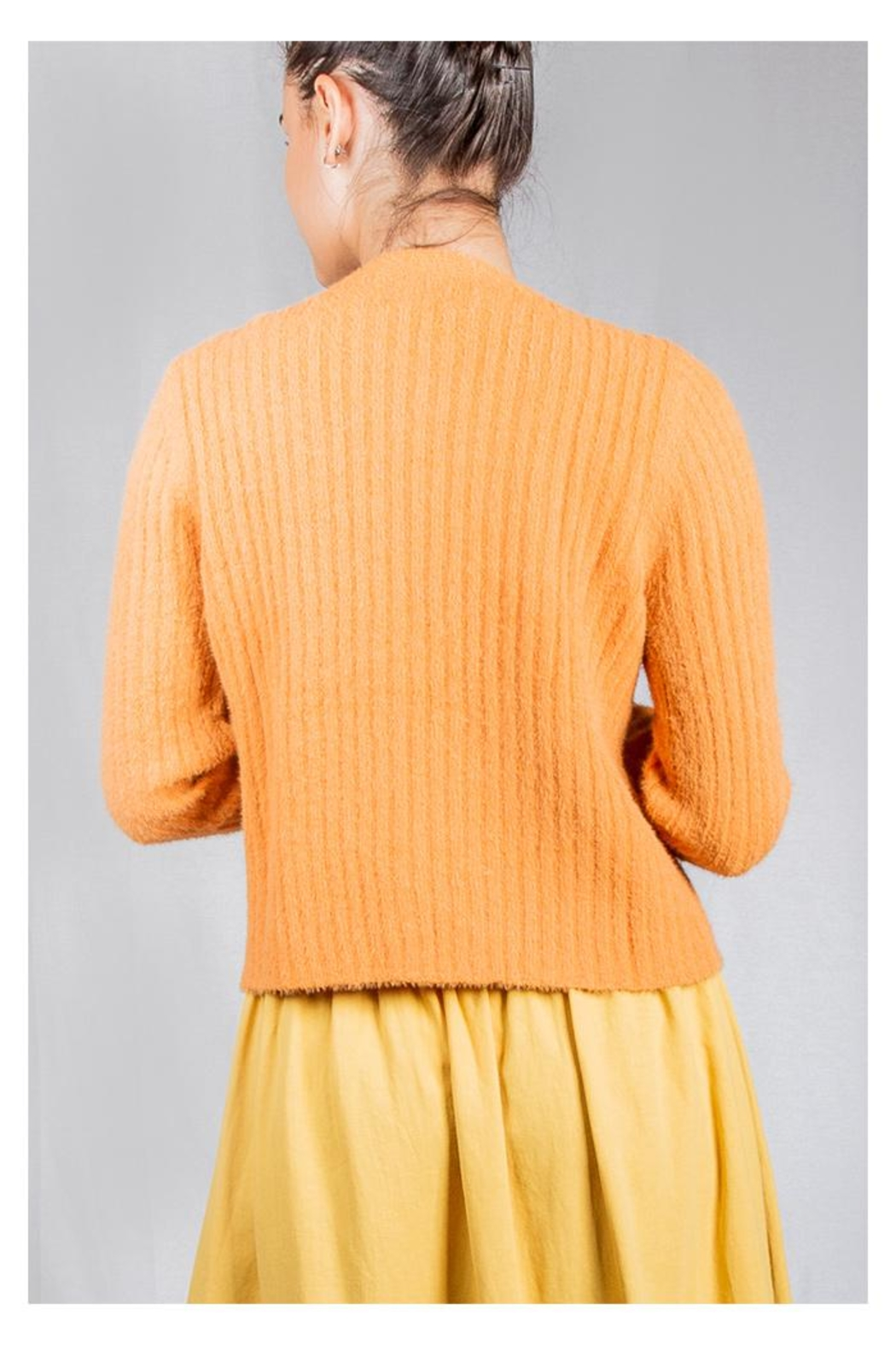 Miss Love Tangerine Ribbed Cardigan - Side Cropped Image