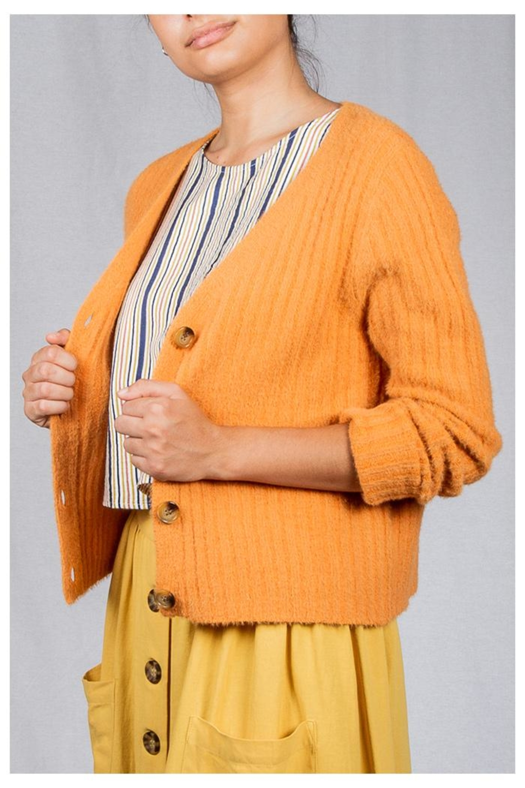 Miss Love Tangerine Ribbed Cardigan - Front Full Image
