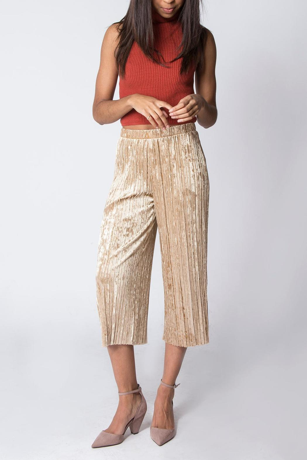 Miss Love Velvet Pleated Pant - Front Cropped Image