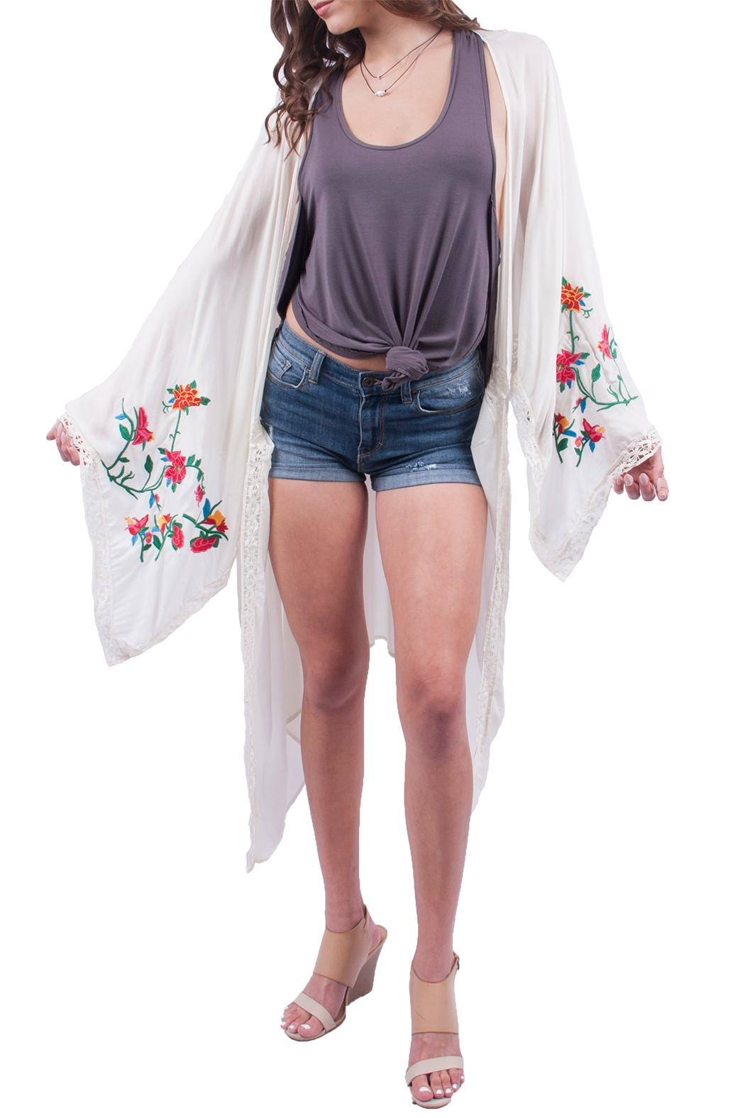 Miss Love White Rose Embroidered Kimono - Main Image