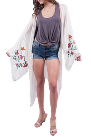 Miss Love White Rose Embroidered Kimono - Product Mini Image