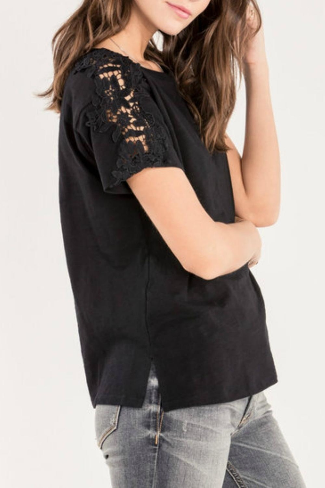 Miss Me Accent Shoulder Tee - Front Full Image