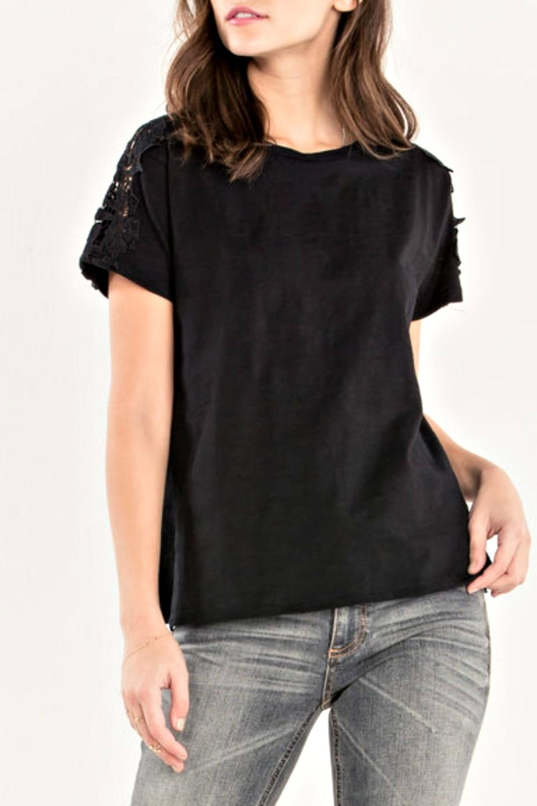 Miss Me Accent Shoulder Tee - Front Cropped Image