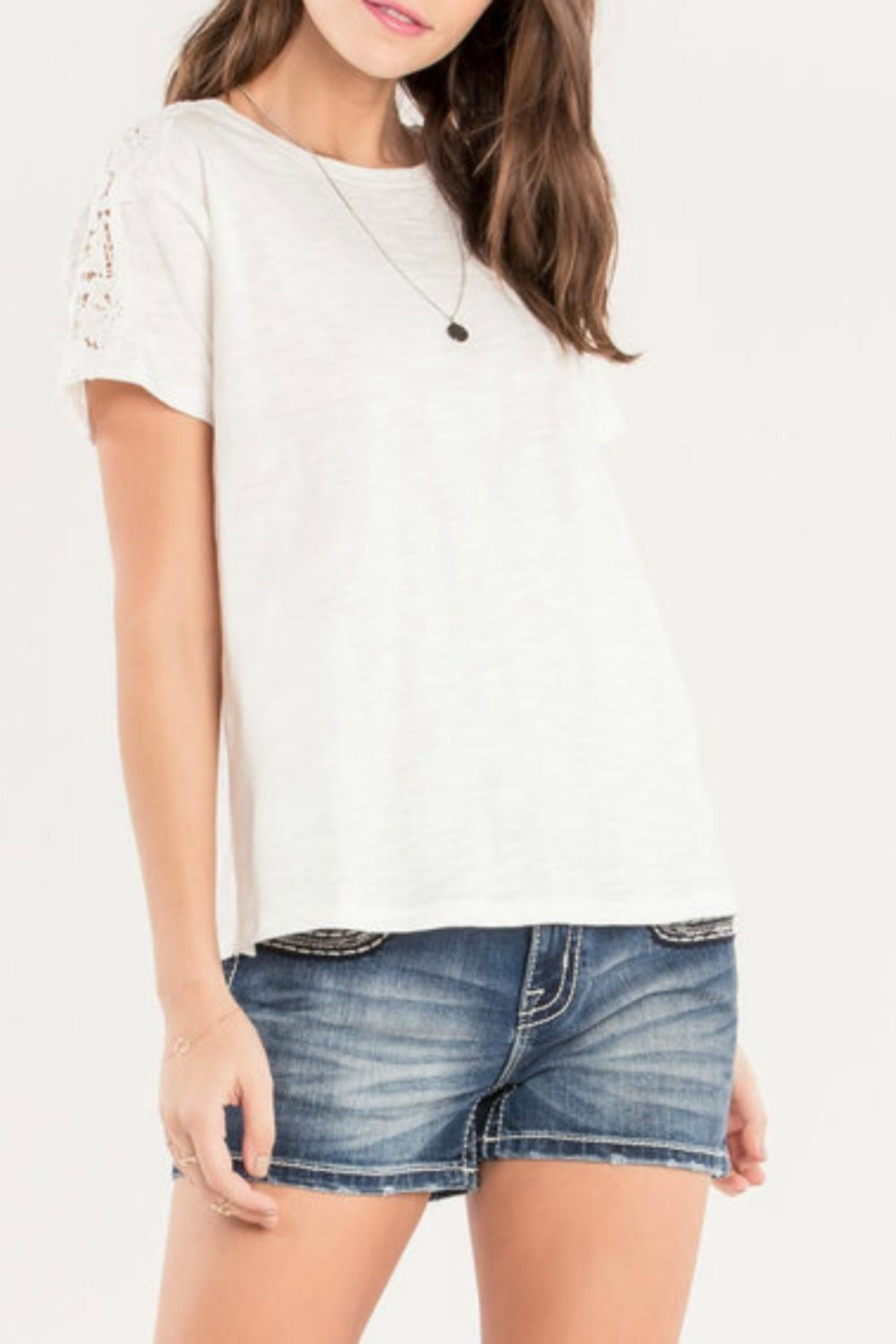 Miss Me Accent Shoulder Tee - Main Image