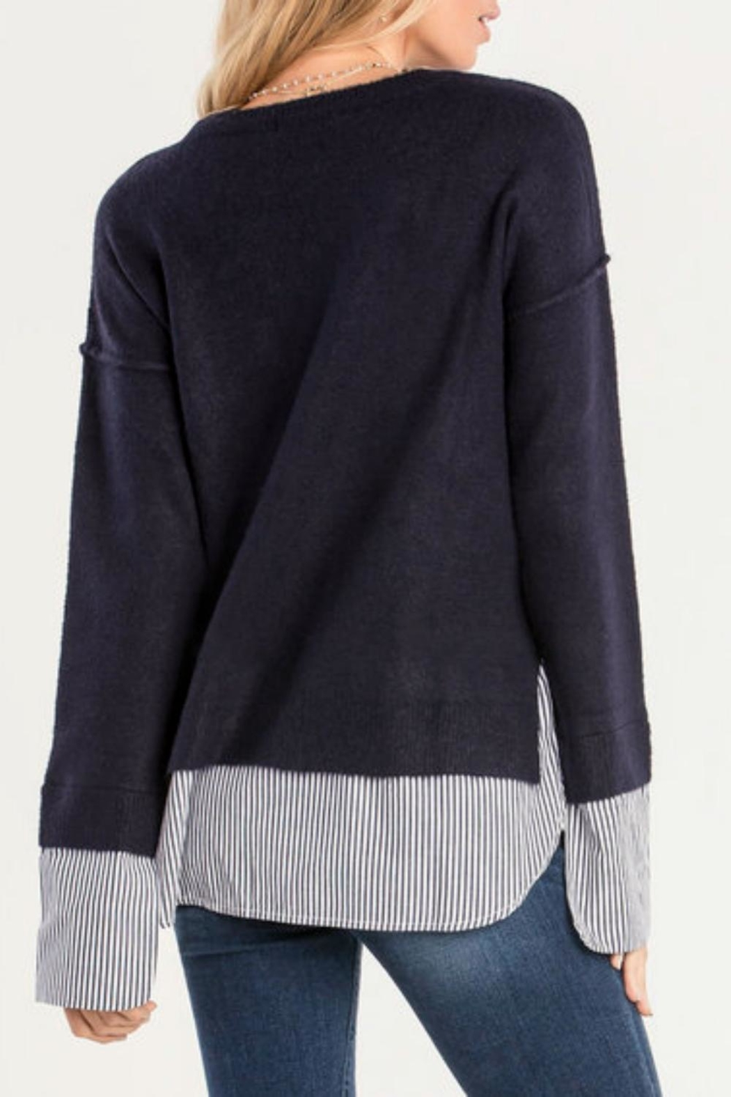 Miss Me Blue Layered Sweater - Front Full Image