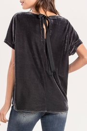 Miss Me Charcoal Crushed-Velvet Top - Front full body