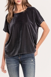 Miss Me Charcoal Crushed-Velvet Top - Front cropped
