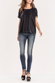 Miss Me Charcoal Crushed-Velvet Top - Back cropped