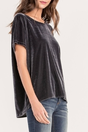 Miss Me Charcoal Crushed-Velvet Top - Side cropped