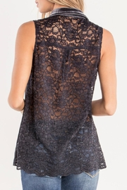 Miss Me Charcoal-Lace & Velvet Detailed-Top - Side cropped