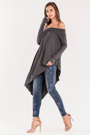 Miss Me Charcoal Off-Shoulder Top - Front full body