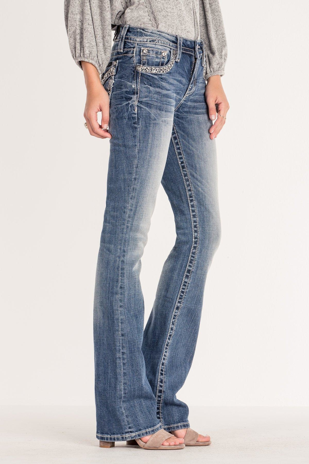 Miss Me Chevron-Stitch Light-Wash Bootcut - Side Cropped Image