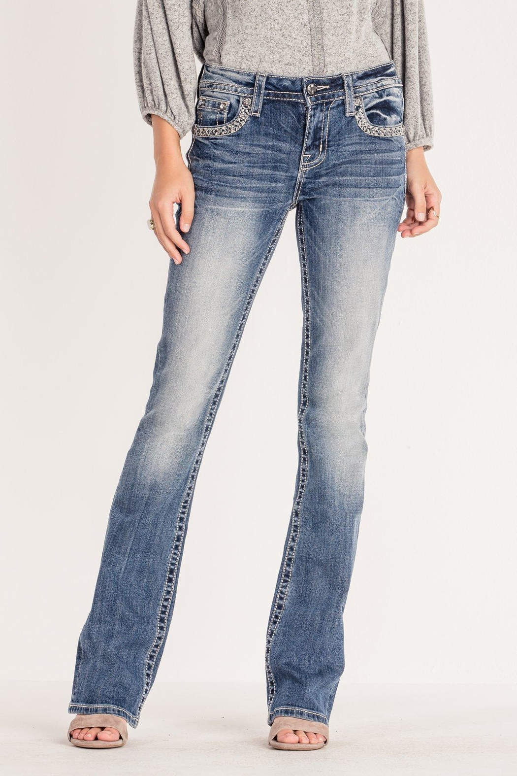 Miss Me Chevron-Stitch Light-Wash Bootcut - Front Full Image