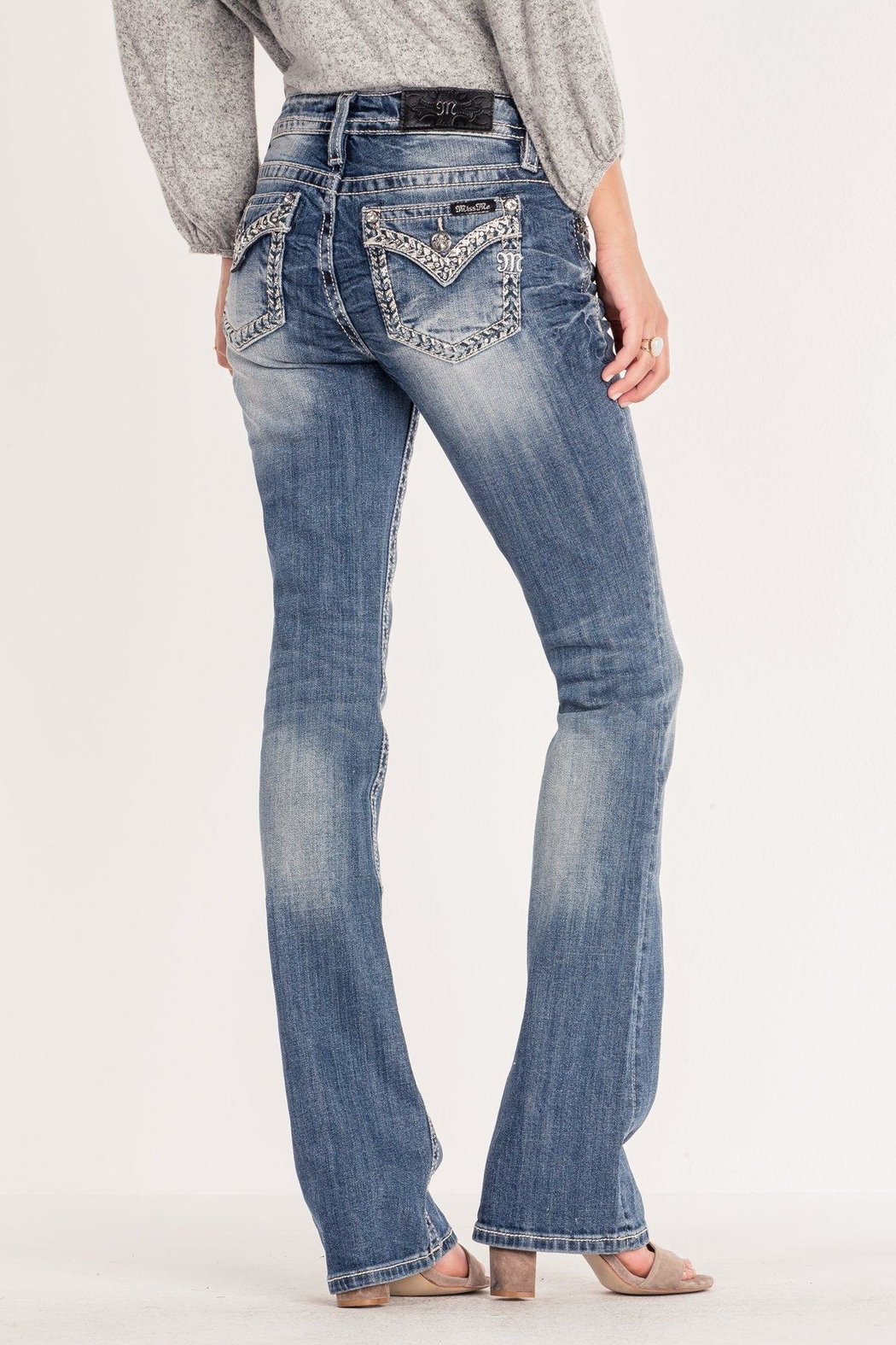 Miss Me Chevron-Stitch Light-Wash Bootcut - Front Cropped Image