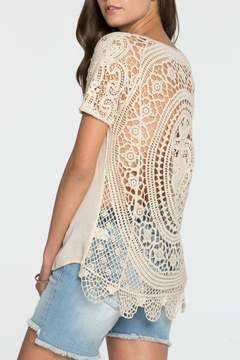 Miss Me Crochet Back Beige Tee - Product List Image