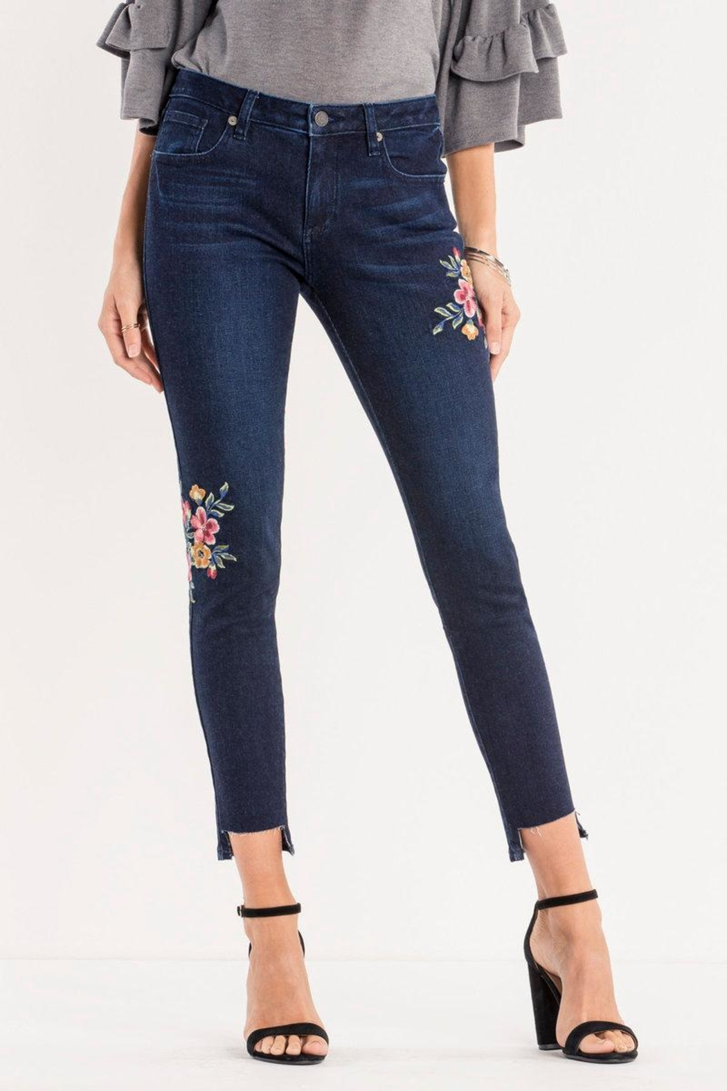 Miss Me Dark-Wash Floral Ankle-Skinny - Front Cropped Image