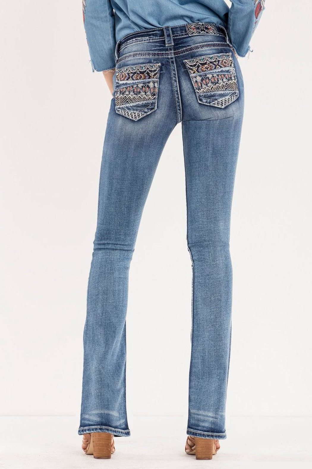 Miss Me Decorative Pocket Jeans - Front Cropped Image