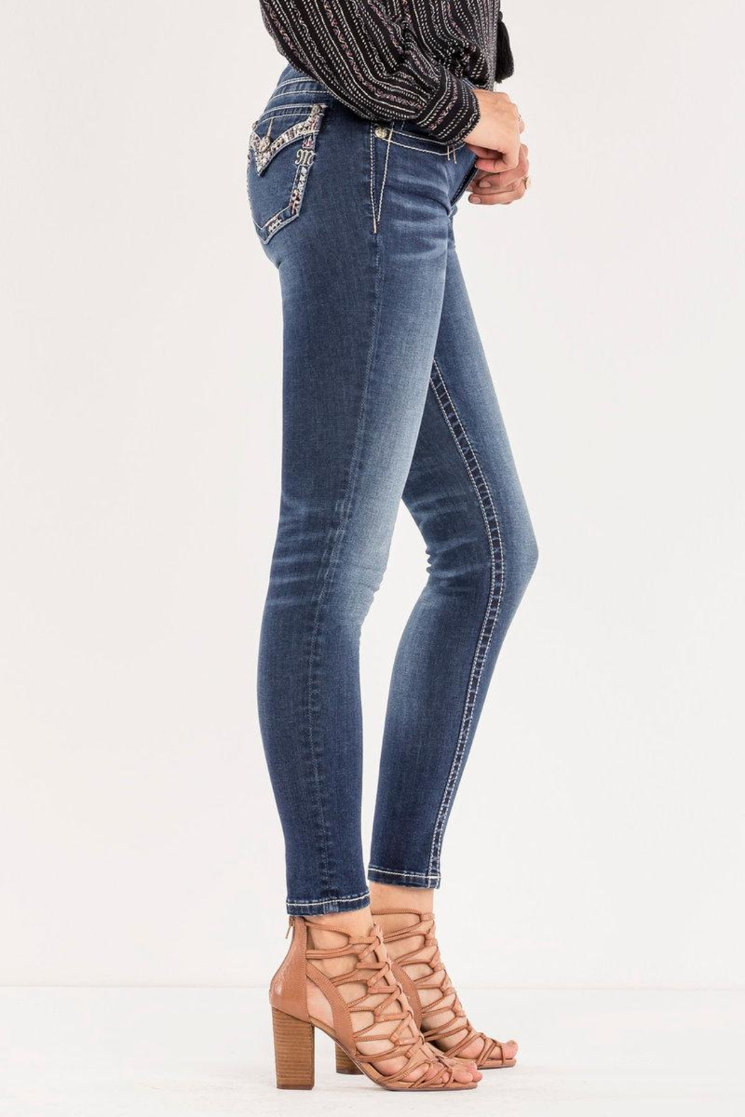 Miss Me Decorative Trim Skinny Jeans - Side Cropped Image